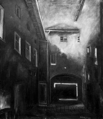 Izabela Domaniecka-Stara kamienica.-Olej