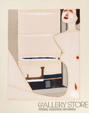Jerzy  Nowosielski-AKT Z MIASTEM, 1999-Serigrafia