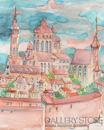 Joanna Rzeźnik-Dzień w starym mieście-Akwarela