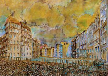 Joanna Rzeźnik-Miasto o świcie-Akwarela