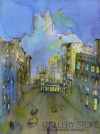 Joanna Rzeźnik-Nocą w mieście-Akwarela