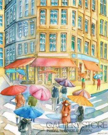Joanna Rzeźnik-Ostatnie krople deszczu - Metropolis-Akwarela