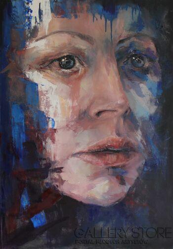 "Joanna Sokolowska-From ""Beyond"" series - blue-Olej"
