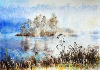 Mgły nad jeziorem