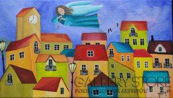 Jolanta Placzyńska-Kolorowe kamienice-Akryl