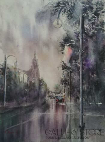 Karolina Majer-Deszczowe miasto-Akwarela