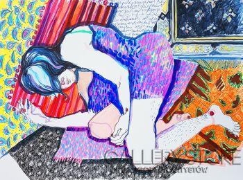 Kasia Gawron-Śpiąca dziewczyna-Rysunek