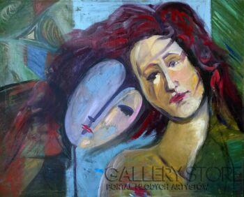 Katarzyna Rymarz-Portret w błękicie-Olej