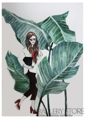 Katia Meller-Czerwone pantofle-Akwarela