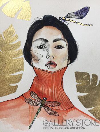 Katia Meller-Dragonflys-Akwarela