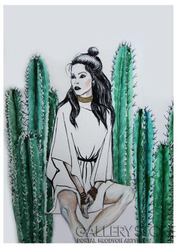 Katia Meller-Kaktusy-Akwarela