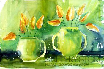 Klaudia Pawelec-Gliklich-Zielona martwa natura z tulipanami -Akwarela