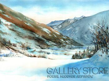 Klaudiusz Pohl-Alpy zimą-Akwarela