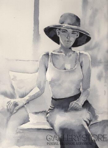 Klaudiusz Pohl-Kobieta w czerwonym kapeluszu-Akwarela