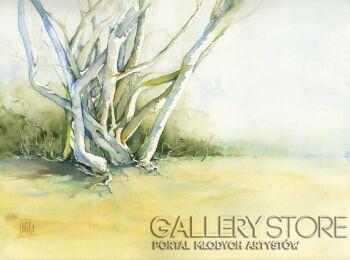 Klaudiusz Pohl-Tańczące drzewa-Akwarela