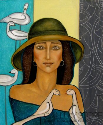 Krystyna Ruminkiewicz-Taka jedna kapeluszowa z białymi ptakami-Olej