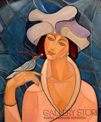 Krystyna Ruminkiewicz-Taka jedna w zamyśleniu-Olej