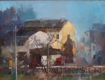 Krzysztof Tracz-Widok z okna pracowni-Olej