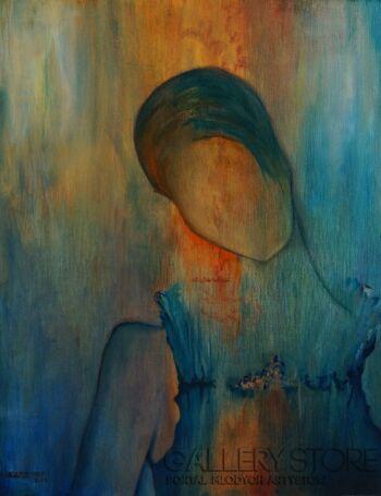 Magdalena Leszner-Skrzecz-BABY BLUE - autoportret-Olej