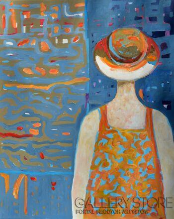 Magdalena Walulik-Cykl Ludzie – Kobiety – Kobieta w kapeluszu-Akryl