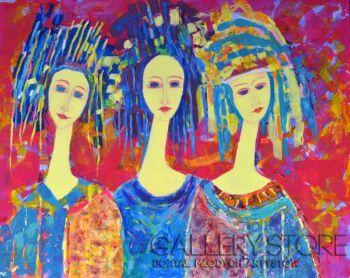 Magdalena Walulik-Obraz Trzy anioły -Olej