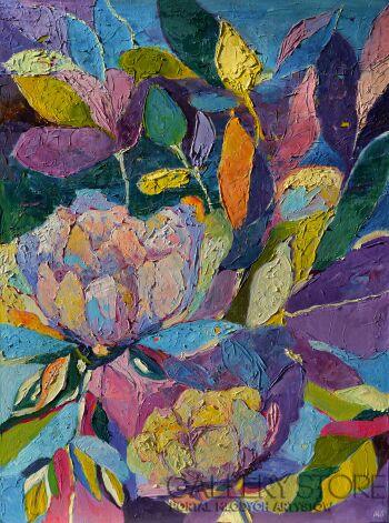 Magdalena Walulik-Piwonie - abstrakcyjny obraz z kwiatami-Olej