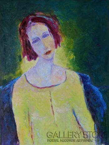 Magdalena Walulik-Postać kobiety w zieleniach-Olej