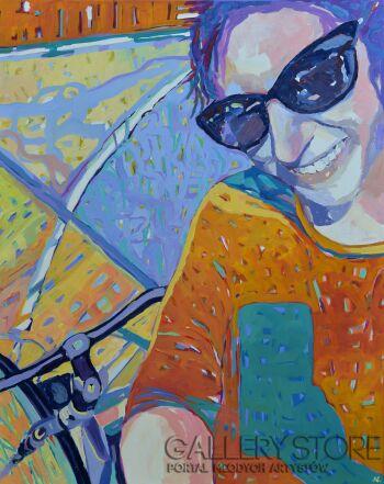 Magdalena Walulik-Selfie rowerzystki-Akryl