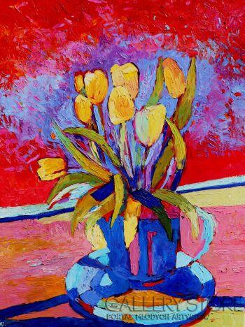 Magdalena Walulik-Wazon z kwiatami - Tulipany-Olej