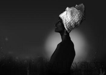Maggi Megane-szkic do portretu kobiety w buszu-Grafika