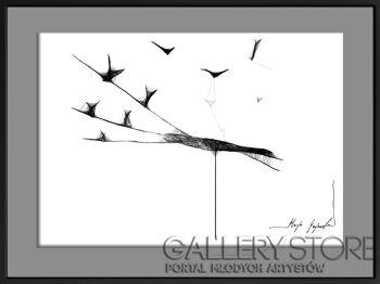 Maja Gajewska-45 - ptaki na drutach-Grafika
