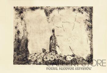 Małgorzata Bryndza-Martwa natura z butelką-Grafika