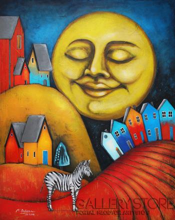 Małgorzata Rukszan-Równonoc jesienna - z cyklu Pogoda w paski-Akryl