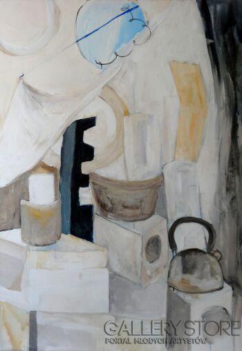Małgorzata Stocik-Beżowa geometria-Akryl