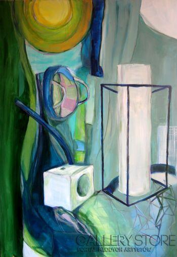 Małgorzata Stocik-Martwa natura ze szklanym obrusem-Akryl
