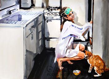 Marcin Kędzierski-Holly z kotem w kuchni-Akwarela