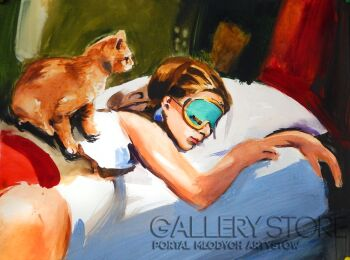 Marcin Kędzierski-Śpiąca Holly z kotem-Akwarela