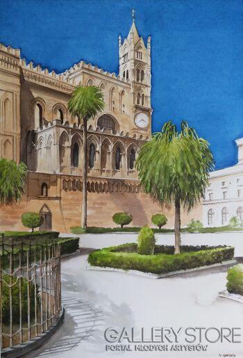 Marcin Zofiński-Katedra w Palermo-Akwarela