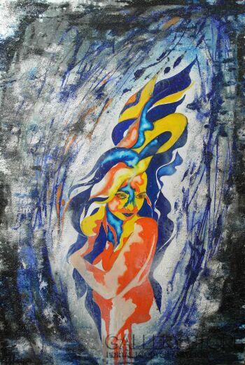 Mariola Świgulska-W otchłani namiętności (Autoportret)-Technika mieszana