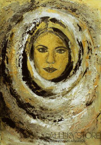 Mariola Świgulska-Zapatrzona w Księżyc-Technika mieszana