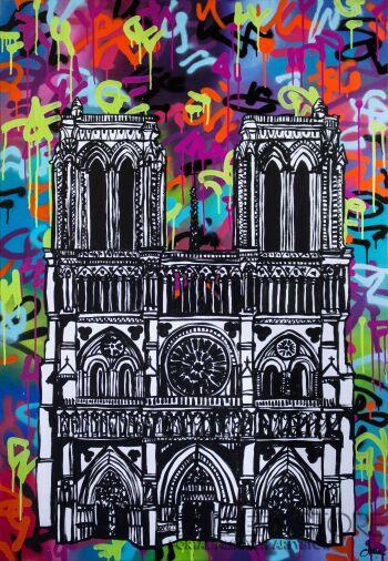 Monika Mrowiec-Impresja o Notre-Dame (808 Street Art Ave.)-Technika mieszana