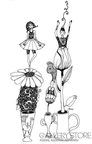 Natalia Pastuszenko-Kobiety-kwiaty-Rysunek