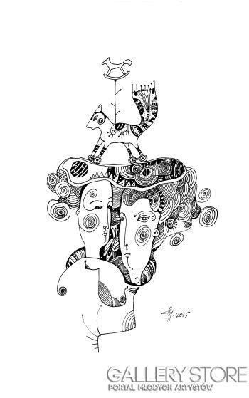 Natalia Pastuszenko-Kompozycja z konikiem-Rysunek