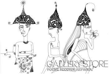 Natalia Pastuszenko-Trzy kobiety-Rysunek