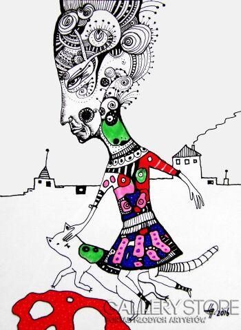 Natalia Pastuszenko-Z kotem-Rysunek