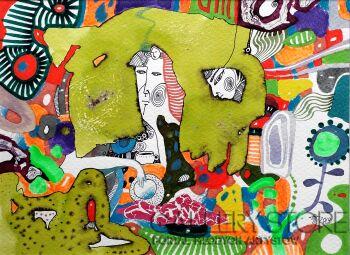Natalia Pastuszenko-Zielona kompozycja-2-Akwarela
