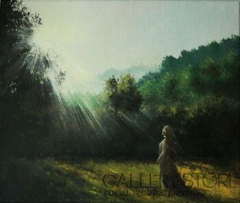 Natalia Ziomek- Wilusz-Kobieta przy wschodzie słońca-Olej