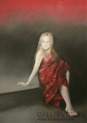 Natalia Ziomek- Wilusz-Kobieta w czerwieni-Rysunek