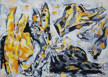"""Orwa Abu Turabe-z cyklu Pies """"yellow dog"""" -Akryl"""