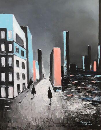 Patryk Tarnowski-The blue-city #3-Akryl
